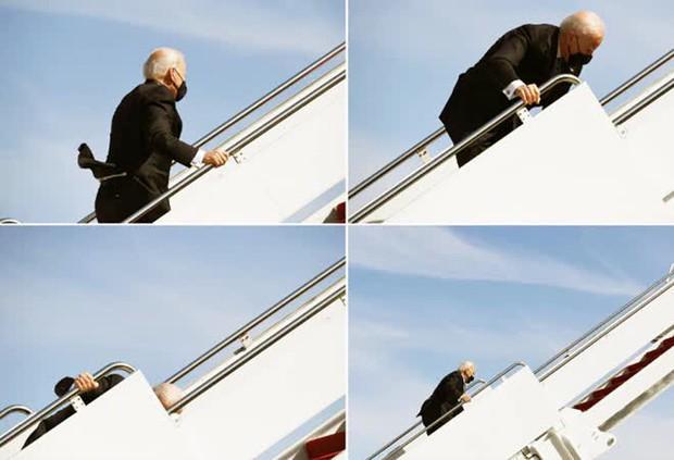 Tổng thống Mỹ Joe Biden liên tục vấp ngã khi bước lên chuyên cơ Không lực Một, hình ảnh ghi lại khiến nhiều người xem phải thót tim - Ảnh 5.