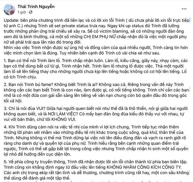 Ekip chính thức xin lỗi Thái Trinh vì lùm xùm nhân viên quay phim sàm sỡ, nhân vật bị tố liệu có phản hồi? - Ảnh 2.