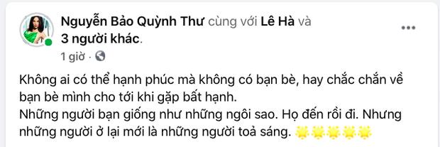 Quỳnh Thư bỗng đăng status úp mở giữa nghi vấn toang với Vũ Khắc Tiệp: Không ai có thể chắc chắn về bạn bè cho tới khi gặp bất hạnh - Ảnh 2.
