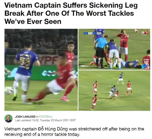 Báo chí nước ngoài ớn lạnh trước tình huống gây ra chấn thương của Đỗ Hùng Dũng, lo ngại cho tương lai của Đội tuyển Việt Nam - Ảnh 1.