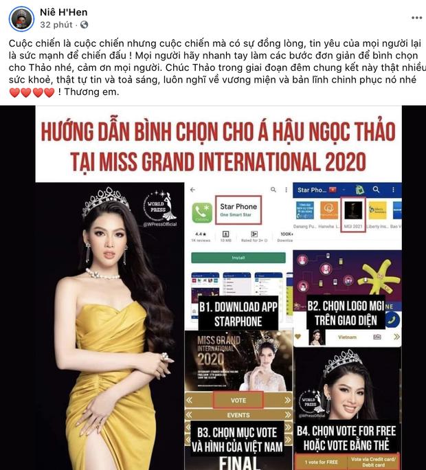 Sao Vbiz rần rần kêu gọi tiếp thêm sức mạnh, kỳ vọng Ngọc Thảo làm nên chuyện ở đêm Chung kết Miss Grand 2020 - Ảnh 2.