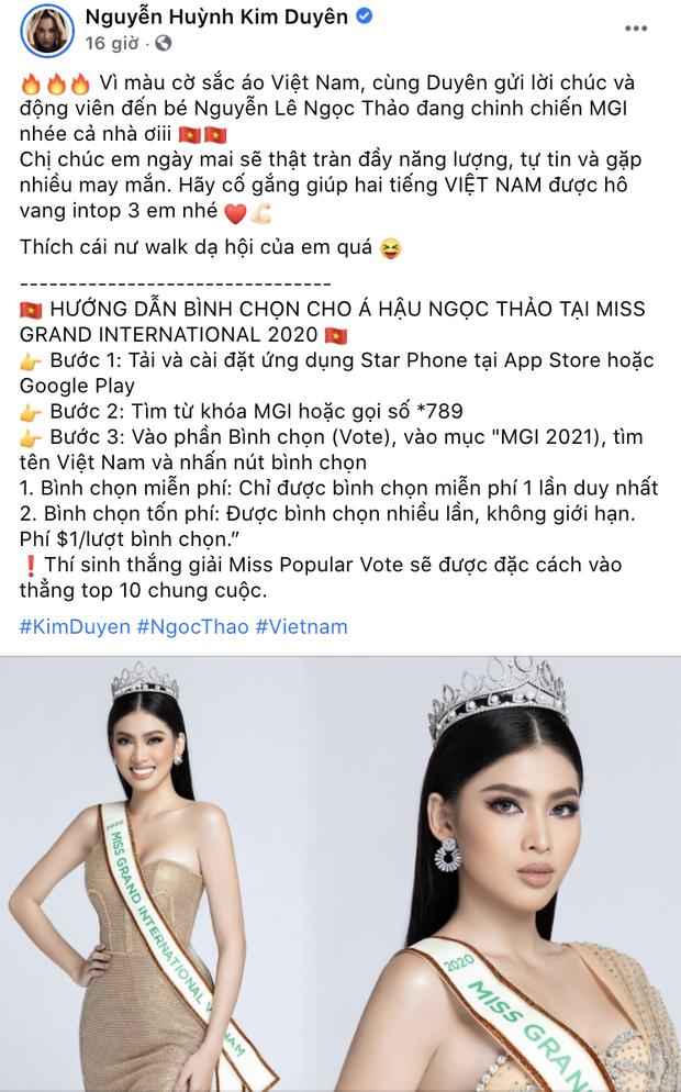 Sao Vbiz rần rần kêu gọi tiếp thêm sức mạnh, kỳ vọng Ngọc Thảo làm nên chuyện ở đêm Chung kết Miss Grand 2020 - Ảnh 8.