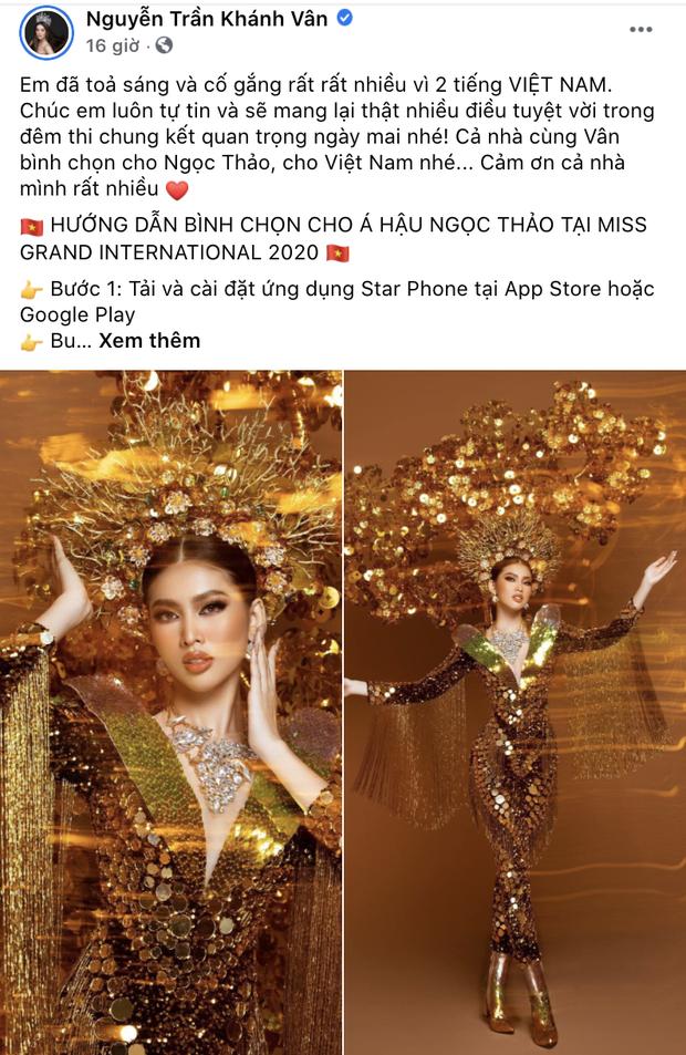 Sao Vbiz rần rần kêu gọi tiếp thêm sức mạnh, kỳ vọng Ngọc Thảo làm nên chuyện ở đêm Chung kết Miss Grand 2020 - Ảnh 4.