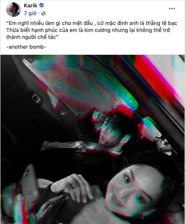 Giữa khuya Karik thả nhẹ hai câu rap còn đăng hình mờ ảo với Miu Lê, tính công khai hay gì đây? - Ảnh 1.