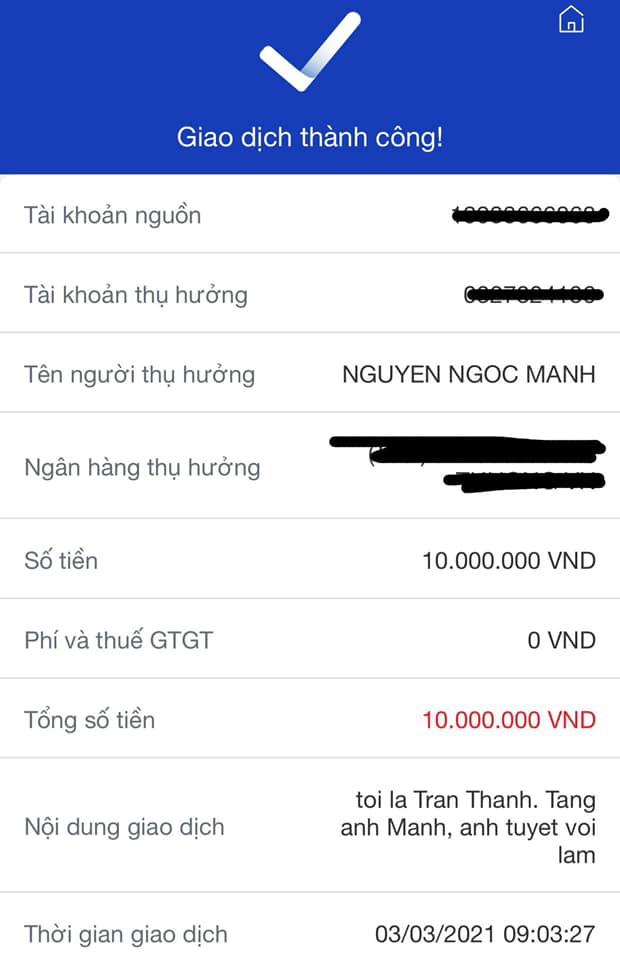 Trấn Thành chuyển nóng 10 triệu đồng cảm ơn Nguyễn Ngọc Mạnh, nhắn gửi: Anh tuyệt vời lắm! - Ảnh 3.