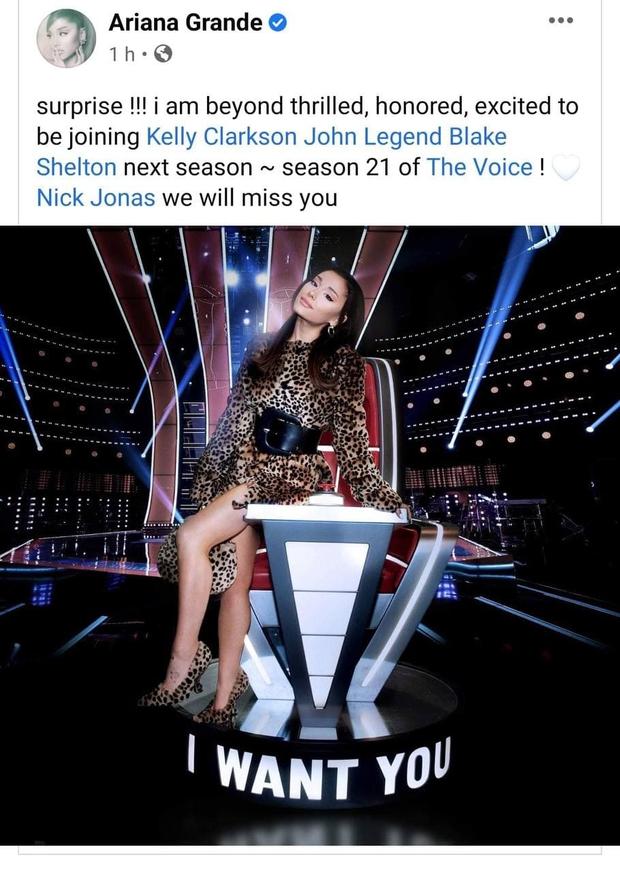 Ariana Grande xác nhận làm HLV The Voice Mỹ mùa thứ 21! - Ảnh 1.
