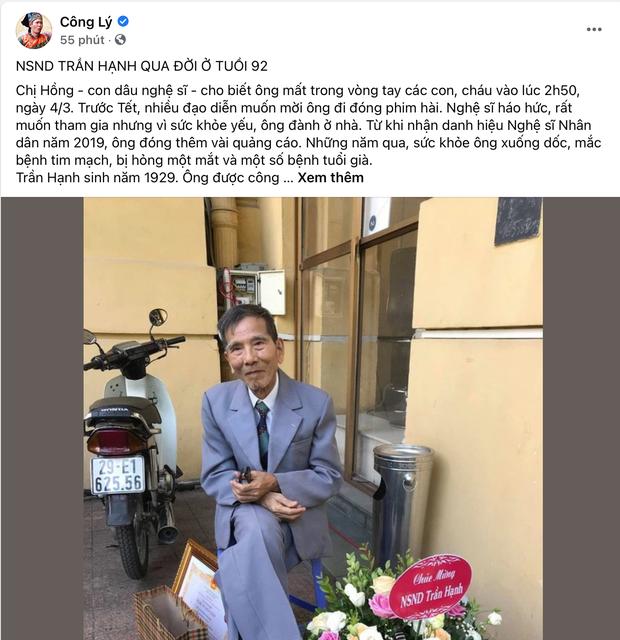 NS Công Lý, Chiều Xuân và khán giả bàng hoàng khi hay tin NSND Trần Hạnh qua đời - Ảnh 2.