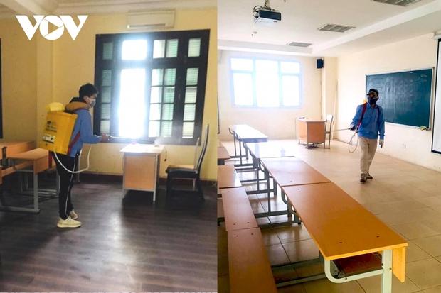 Các trường Đại học ở Hà Nội thực hiện vệ sinh, khử khuẩn chuẩn bị đón sinh viên trở lại - Ảnh 8.