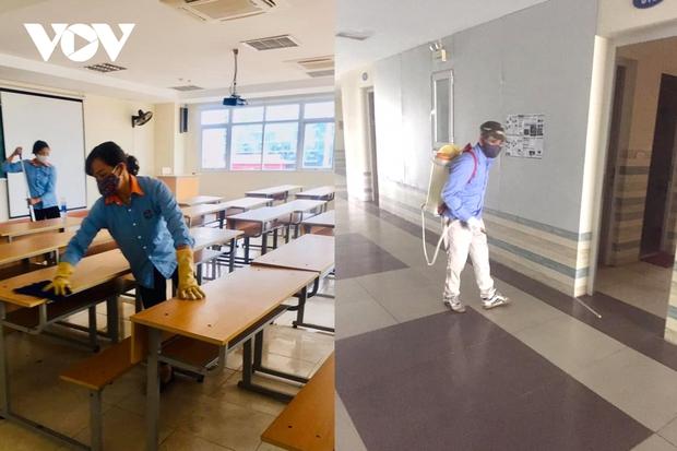 Các trường Đại học ở Hà Nội thực hiện vệ sinh, khử khuẩn chuẩn bị đón sinh viên trở lại - Ảnh 9.