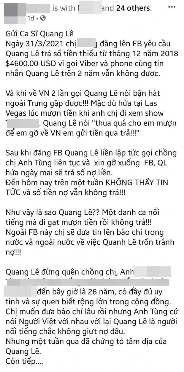 Quang Lê xuất hiện bình thản tại show của Lệ Quyên giữa ồn ào nợ nần, bị người quen tố vay hơn 100 triệu 2 năm chưa trả - Ảnh 5.