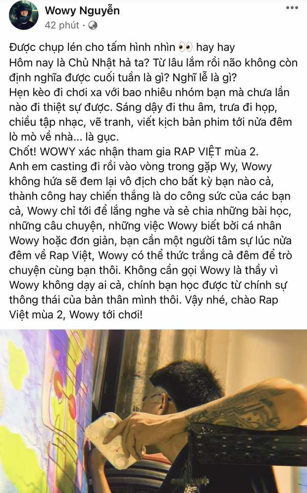 Wowy chính thức xác nhận tham gia Rap Việt mùa 2! - Ảnh 2.