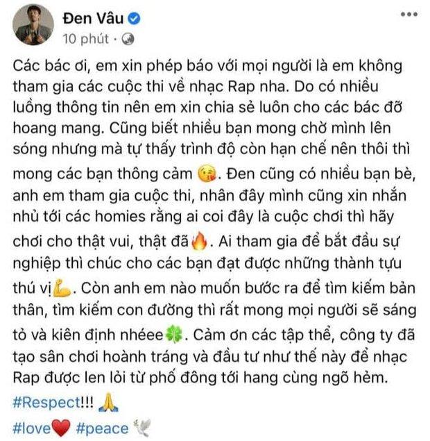 Netizen ồ ạt gọi tên Đen Vâu ngồi ghế HLV Rap Việt, chính chủ đưa ra câu trả lời ngay và luôn! - Ảnh 2.