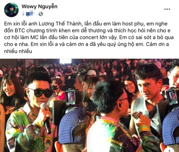 Lương Thế Thành lên tiếng khi bị Wowy gọi sai tên tại concert Rap Việt, cách xử lý được công chúng khen ngợi rần rần - Ảnh 3.