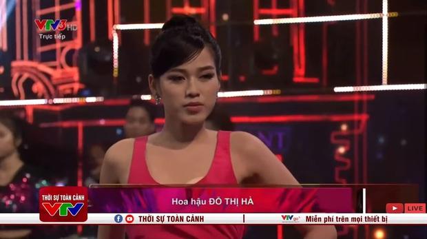 Hoa hậu Đỗ Thị Hà hớ hênh lộ cả phụ tùng trên sóng truyền hình vì chiếc đầm sexy - Ảnh 6.