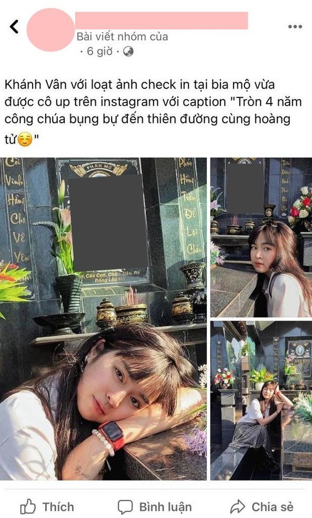 Gây tranh cãi vì loạt ảnh tạo dáng ở bia mộ người thân, Khánh Vân lên tiếng: Đã tham khảo ảnh nghệ sĩ đi tảo mộ - Ảnh 2.
