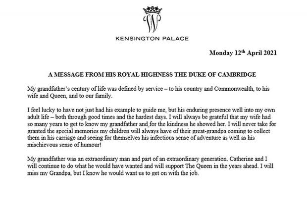 Hoàng tử William và em trai Harry cùng lên tiếng trước sự ra đi của ông nội - cố Hoàng thân Philip trong chia sẻ đầy xúc động - Ảnh 2.