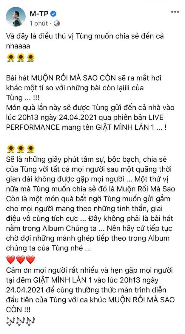 Không ra MV, Sơn Tùng sẽ hát live ca khúc mới và tâm sự với fan về những chuyện đã qua với giá vé ưu đãi chưa từng có! - Ảnh 2.