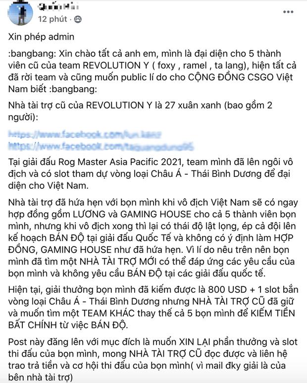 Quản lý đội CS:GO số 1 Việt Nam khẳng định: Không bán độ lấy đâu ra tiền nuôi đội tuyển - Ảnh 1.