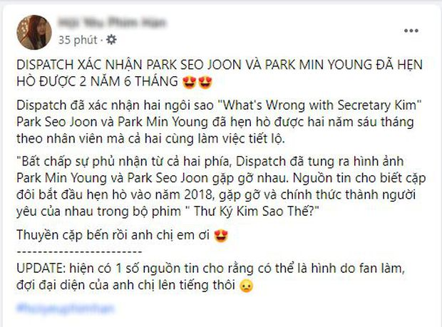 Rầm rộ tin Dispatch tung ảnh Park Min Young - Park Seo Joon hẹn hò hơn 2 năm, sự thật khiến dân tình phẫn nộ - Ảnh 2.