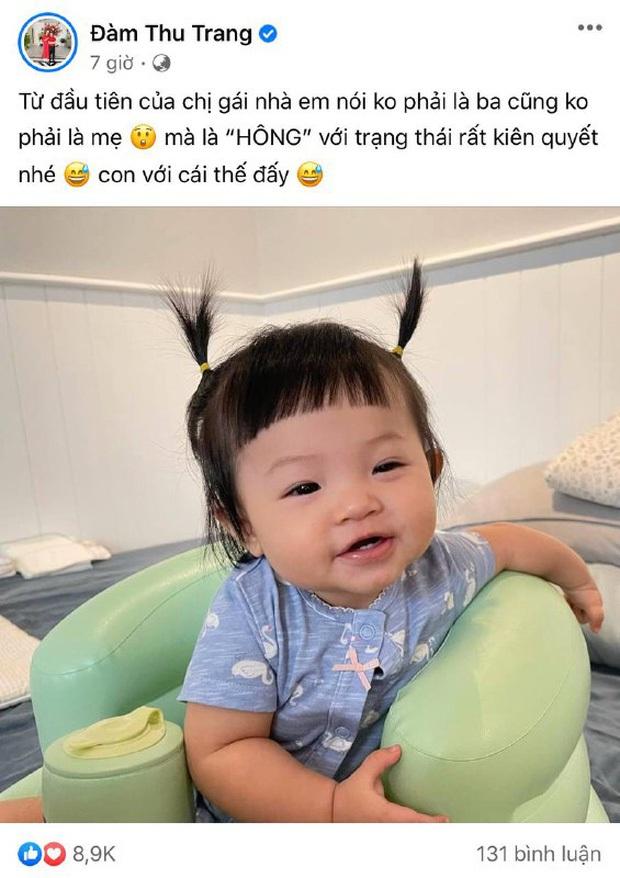 Đàm Thu Trang cười tươi roi rói nhưng biểu cảm thanh niên nghiêm túc của con gái Suchin mới chiếm sóng tất cả - Ảnh 4.