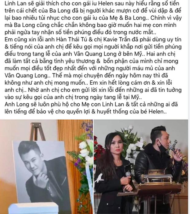Linh Lan tuyên bố không nhận tiền phúng điếu, ẩn ý vợ cũ NS Vân Quang Long đứng sau vụ đòi giấy tờ huyết thống của bé Helen? - Ảnh 5.