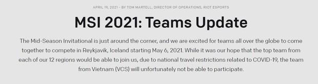 VCS không thể tham dự MSI 2021, Levi và đồng đội tại GAM Esports khóc ròng - Ảnh 1.