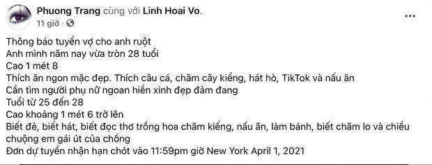 Em ruột bỗng mở hội tuyển vợ cho NS Hoài Linh, yêu cầu chị dâu cao trên 1m6, biết đẻ, biết hát và 7749 điều kiện khác - Ảnh 2.