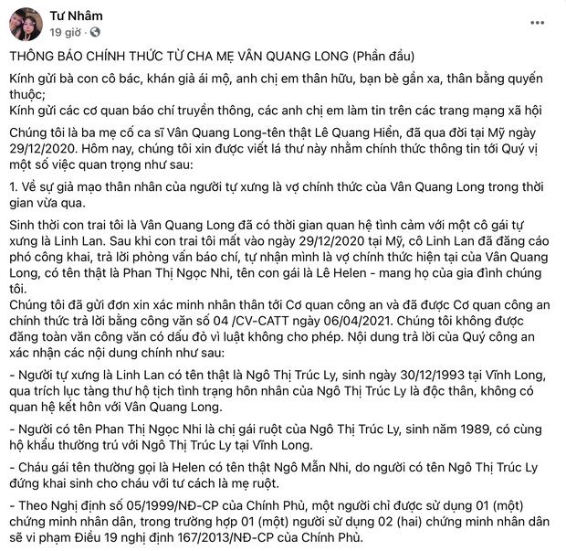 Bố mẹ Vân Quang Long liên hệ công an xác minh nhân thân Linh Lan là giả mạo, khẳng định cố NS có vợ chính thức tại Mỹ - Ảnh 2.