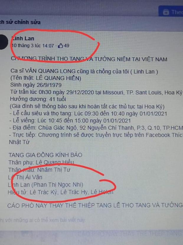 Bố mẹ Vân Quang Long liên hệ công an xác minh nhân thân Linh Lan là giả mạo, khẳng định cố NS có vợ chính thức tại Mỹ - Ảnh 3.
