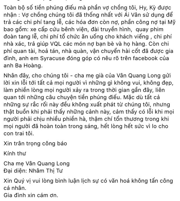 Mẹ Vân Quang Long lên tiếng về ồn ào tiền phúng điếu: Linh Lan không phải người trong nhà, vợ cũ thống nhất với gia đình làm điều này? - Ảnh 3.