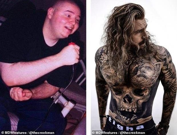 Giảm 69kg, mẫu nam chi gần 700 triệu đồng xăm kín người chỉ để... che vết sẹo - Ảnh 2.