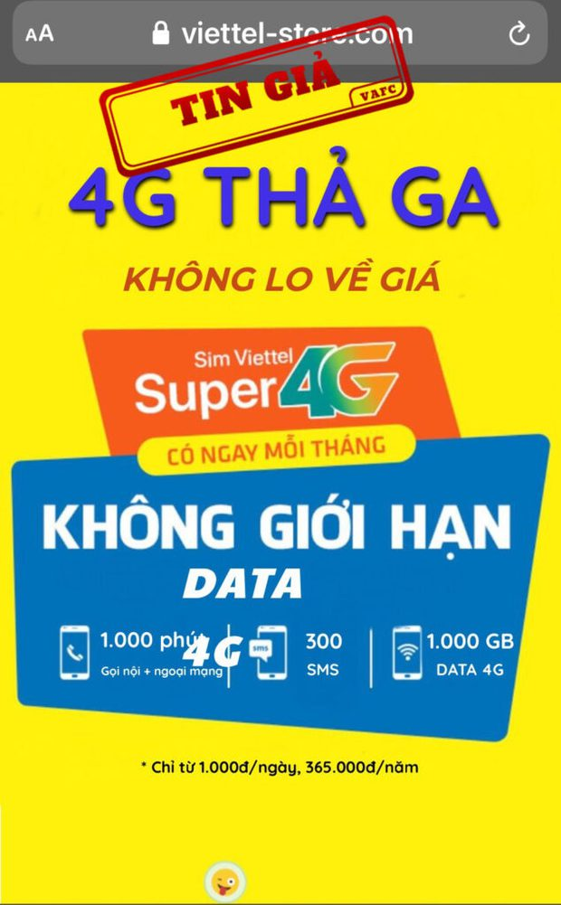 Giả mạo website của Viettel để rao bán SIM 4G - Ảnh 1.