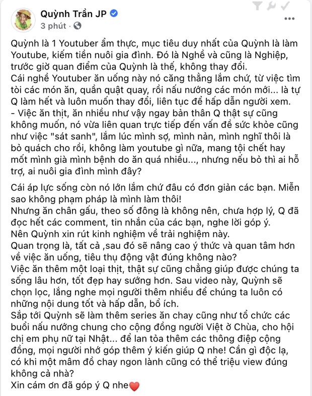 NÓNG: Quỳnh Trần JP tung video xin lỗi vì ăn chân gấu nhưng không xoá clip cũ, hứa hẹn sẽ làm series món chay sau này - Ảnh 2.