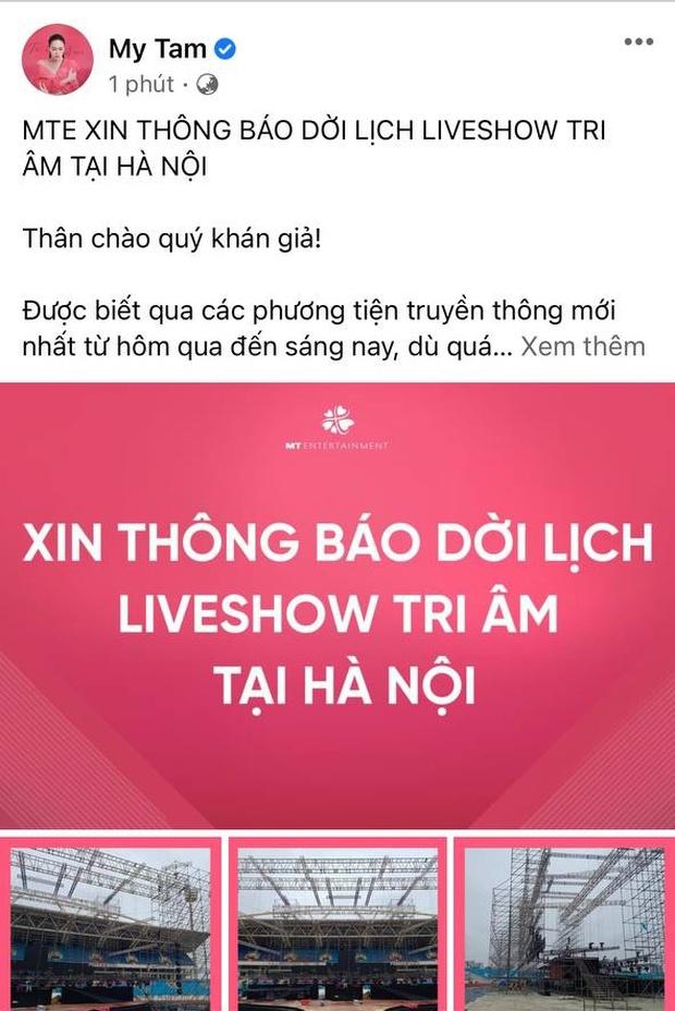 HOT: Mỹ Tâm thông báo dời lịch liveshow Tri Âm tại Hà Nội! - Ảnh 1.