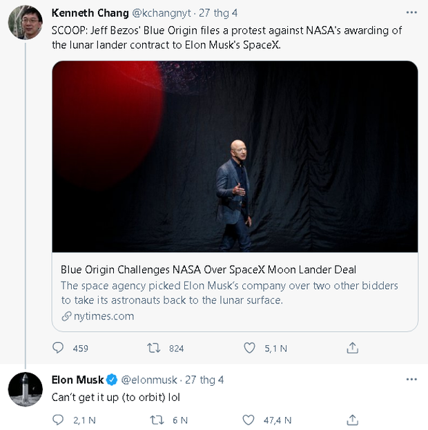 """Elon Musk chế nhạo Jeff Bezos: """"Mãi không dựng lên được"""" - Ảnh 2."""