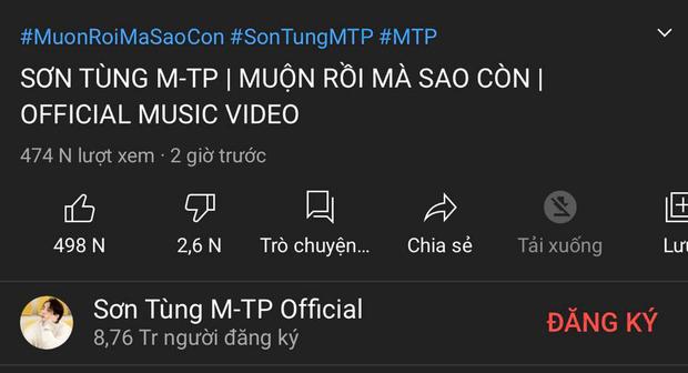YouTube lag cực mạnh, MV Muộn Rồi Mà Sao Còn được Sơn Tùng thông báo đạt 2,5 triệu view nhưng thực tế lại chỉ hơn 400K? - Ảnh 3.