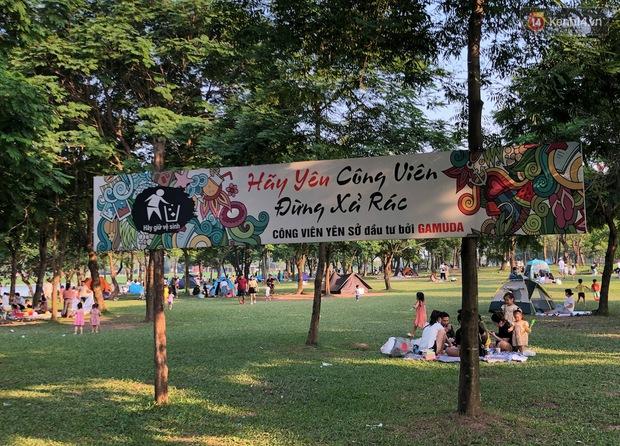 Hà Nội trời đẹp, dân tình đổ về công viên Yên Sở camping và dã ngoại  - Ảnh 12.