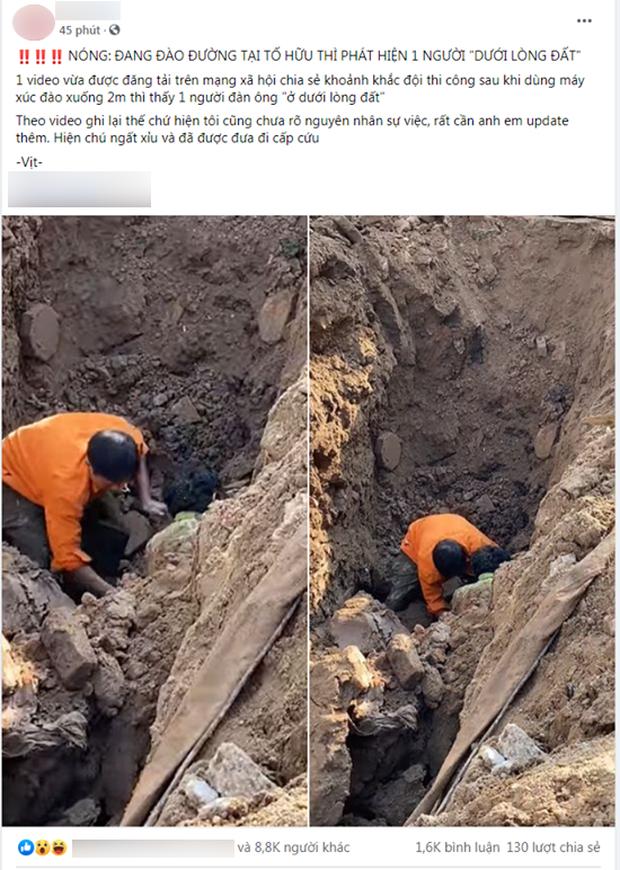 Sự thật đoạn clip đang đào đường ở Hà Nội thì phát hiện một người dưới lòng đất