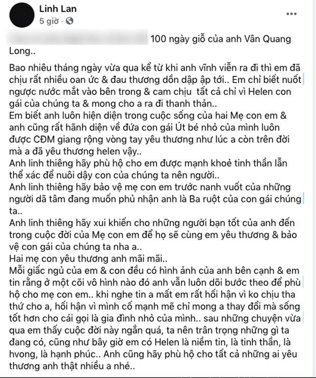 Linh Lan chính thức lên tiếng trước nghi vấn bé Helen không phải con ruột của cố NS Vân Quang Long - Ảnh 2.