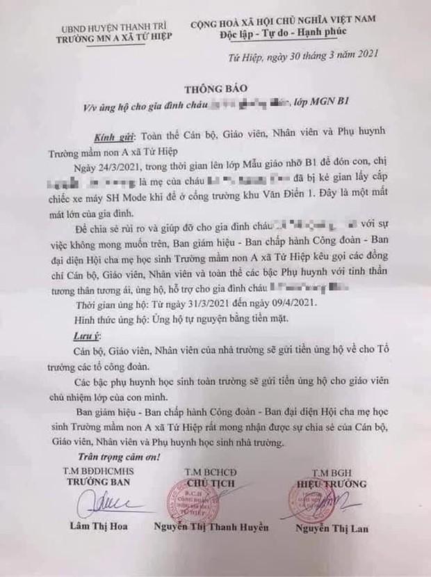 Hà Nội: Trường mầm non kêu gọi ủng hộ tiền mua xe SH cho phụ huynh bị mất cắp - Ảnh 1.