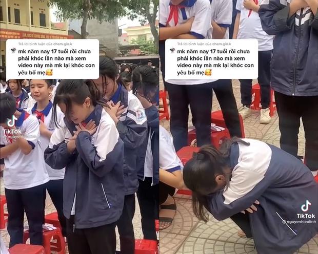 Video: Hơn 1.000 học sinh khóc nức nở giữa sân trường, một nữ sinh đang đứng bỗng cúi rạp người xuống - Ảnh 2.