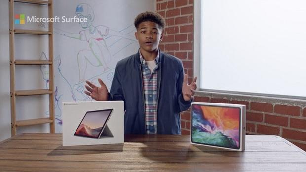 Quảng cáo Surface Pro 7 mới nhất của Microsoft tiếp tục lôi iPad Pro ra làm trò đùa - Ảnh 1.