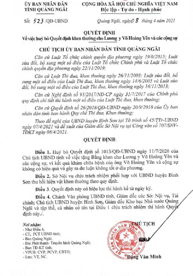 Quảng Ngãi hủy bỏ quyết định khen thưởng thần y Võ Hoàng Yên - Ảnh 1.