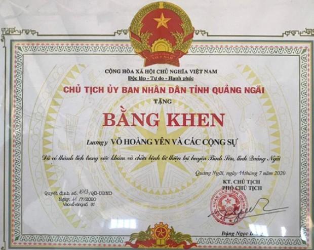 Quảng Ngãi hủy bỏ quyết định khen thưởng thần y Võ Hoàng Yên - Ảnh 2.