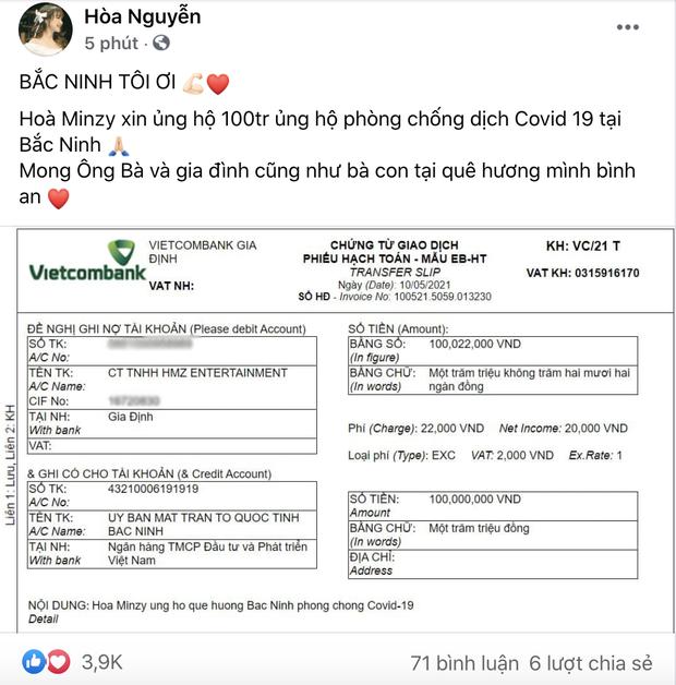 Dịch Covid-19 tái bùng phát ở Bắc Ninh, Hoà Minzy bỏ tiền túi ủng hộ 100 triệu đồng cho quê nhà - Ảnh 2.