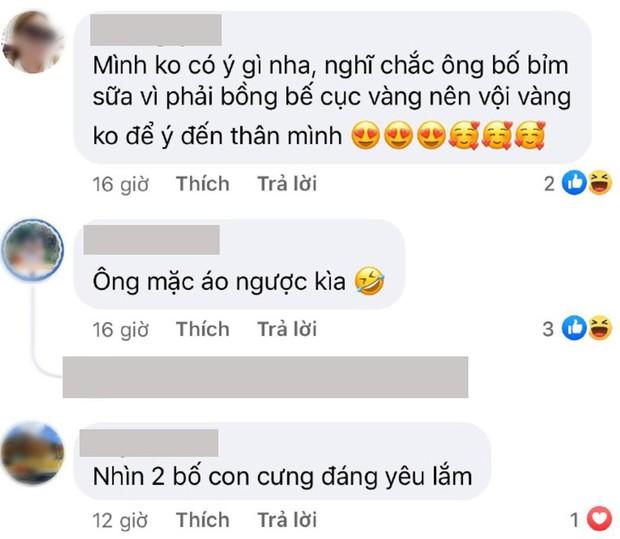 Bị netizen hiểu lầm là mải chăm con đến mặc cả áo ngược, bố bỉm Ông Cao Thắng vội phân trần: Mẫu áo nó vậy mà mọi người - Ảnh 3.