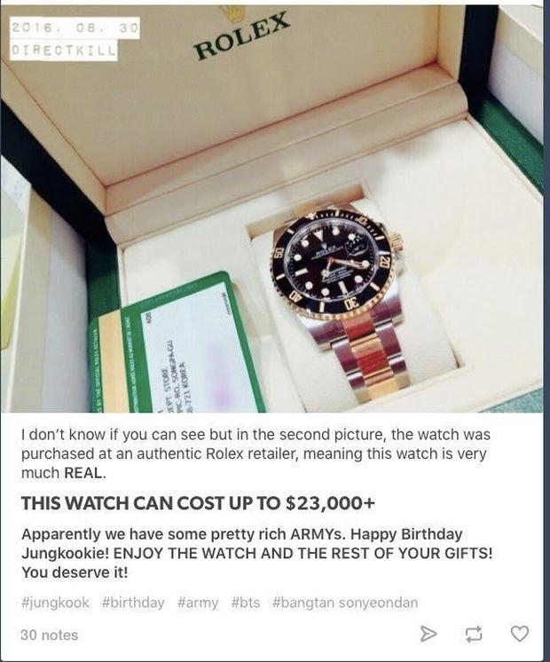 6 lần fan gây sốc vì tặng idol quà khủng: Jungkook nhận thỏi vàng và đồng hồ nửa tỷ, nữ idol debut 2 tháng đã có núi hàng hiệu - Ảnh 3.