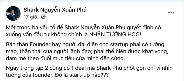 Trước tranh cãi rót vốn cho nữ CEO xinh đẹp, phía Shark Phú lên tiếng: Nhân tướng học là 1 trong 3 yếu tố quyết định - Ảnh 2.