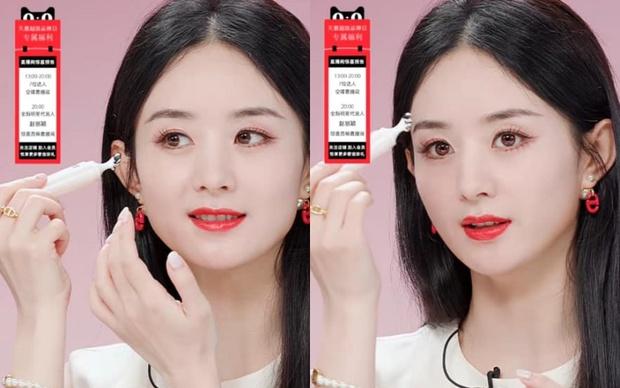 Triệu Lệ Dĩnh bị chê giả tạo vì makeup dày cộp khi livestream quảng cáo đồ dưỡng da - Ảnh 4.