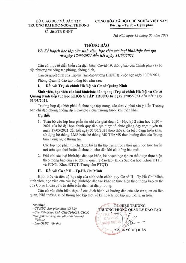 ĐH Ngoại thương thông báo KHẨN cho sinh viên hoãn thi, nghỉ học tập trung hết tháng 5 - Ảnh 1.
